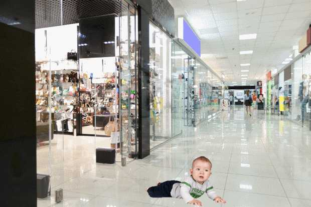 Disabled Child in Shopping Mall