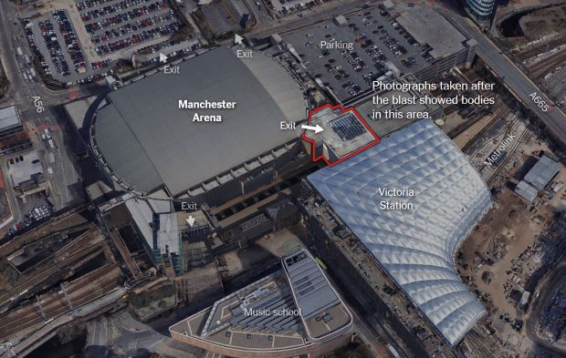 O2 Concert Arena, site of the Ariana Grande concert bombing